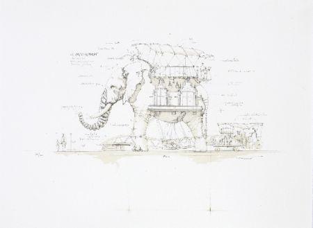 Lithographie Delarozière - L'éléphant