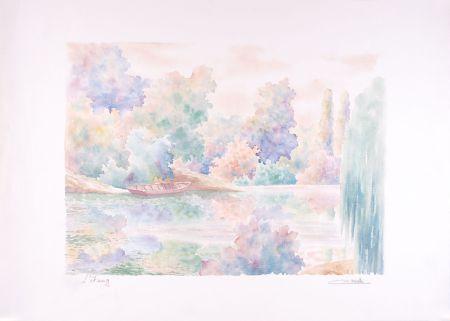 Lithographie Cavalle - L'étang