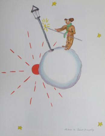 Lithographie Saint-Exupéry - L 'allumeur de réverbéres