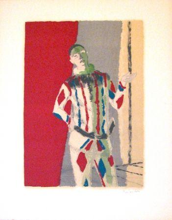 Lithographie Brianchon - L' arlequin, from Souvenirs de Portraits d'Artistes - Jacques Prévert: Le coeur à l'ouvrage