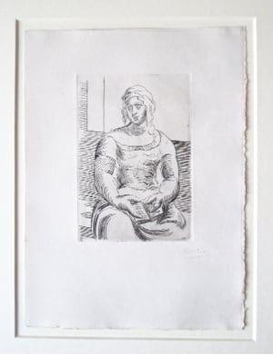 Gravure Picasso -  L' Italienne (s. ta130) Femme au Livre