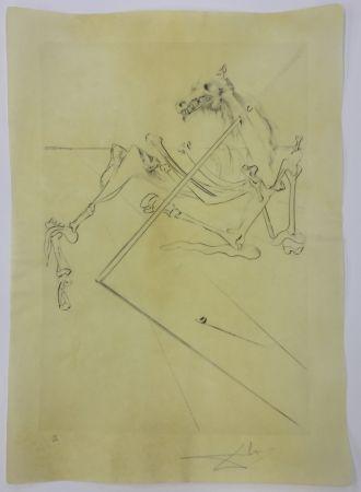 Eau-Forte Dali - L soler conchant allonge le squelette noir d'un grand cheval tres grand... la tête est soutien par le fer dune lance
