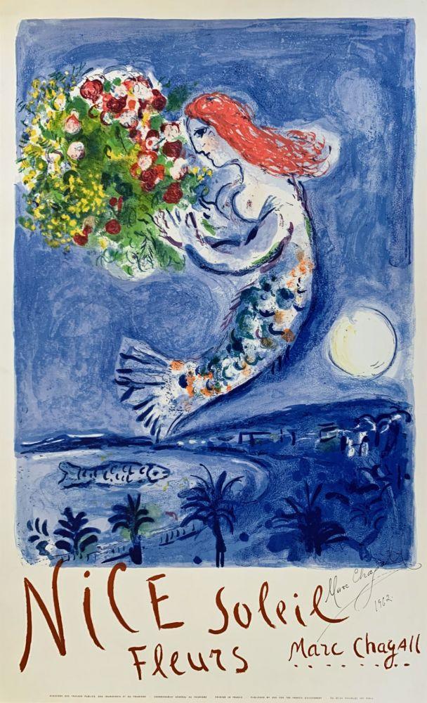 Lithographie Chagall - La Baie des Anges (Nice Soleil Fleurs)
