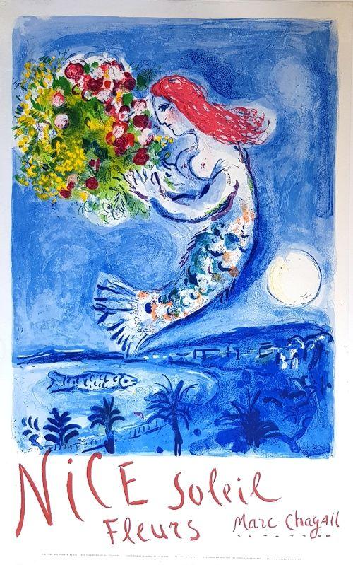 lithographie de marc chagall la baie des anges nice soleil fleurs sur amorosart. Black Bedroom Furniture Sets. Home Design Ideas
