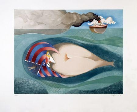 Aquatinte Marin - La Baleine