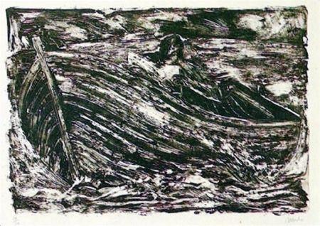 Lithographie Barcelo - La Barque
