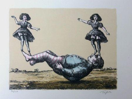 Lithographie Topor - La bascule