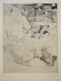 Eau-Forte Courmes - La Belle et le triton