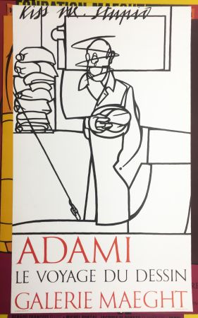 Lithographie Adami - LA BIJOUGALERIE. Adami dessins aquarelles gravures (affiche originale).