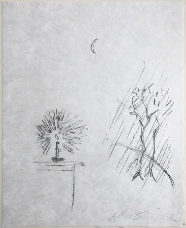 Lithographie Giacometti - La Bougie. Lithographie Originale Signée