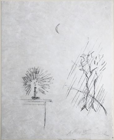 Lithographie Giacometti - LA BOUGIE (The candle). 1961. Lithographie originale signée