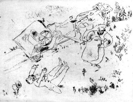 Eau-Forte Chagall - La britchka s'est renversée