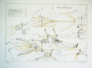 Lithographie Delarozière - La Calamar à retropropulsion