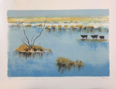 Lithographie Zarou - La camargue