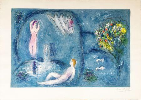 Lithographie Chagall - LA CAVERNE DES NYMPHES (Daphnis & Chloé: de la suite à grandes marges) 1961.
