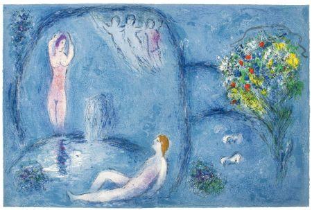 Lithographie Chagall - LA CAVERNE DES NYMPHES (de Daphnis et Chloé - 1961)