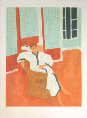Lithographie Boncompain - La chambre a carreaux