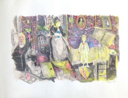 Lithographie Grau Sala - La chambre a coucher