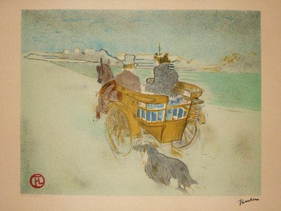 Lithographie Toulouse-Lautrec - La charette anglaise