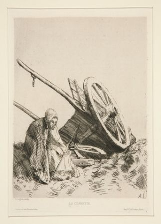 Gravure Legros - La charrette brisée