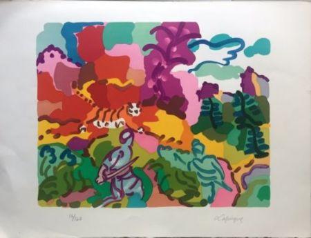 Lithographie Lapicque - La Chasse Au Tigre