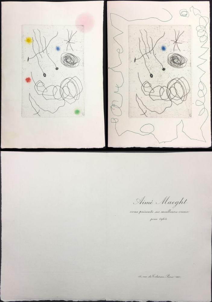 Eau-Forte Et Aquatinte Miró - LA CHOUETTE ET L'ESCARGOT (Maeght, Vœux pour 1964). 2 états.