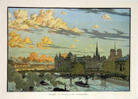 Lithographie Grasset - La Cité Vue du Pont des Saint Pères