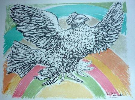 Lithographie Picasso - La comobe a  l'arc en ciel