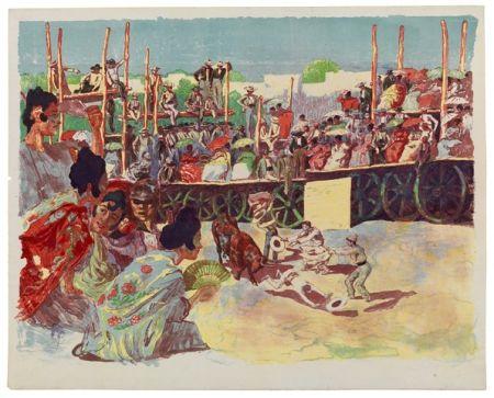 Lithographie Lunois - La Corrida:  Une corrida à la campagne (A Country Bullfight)