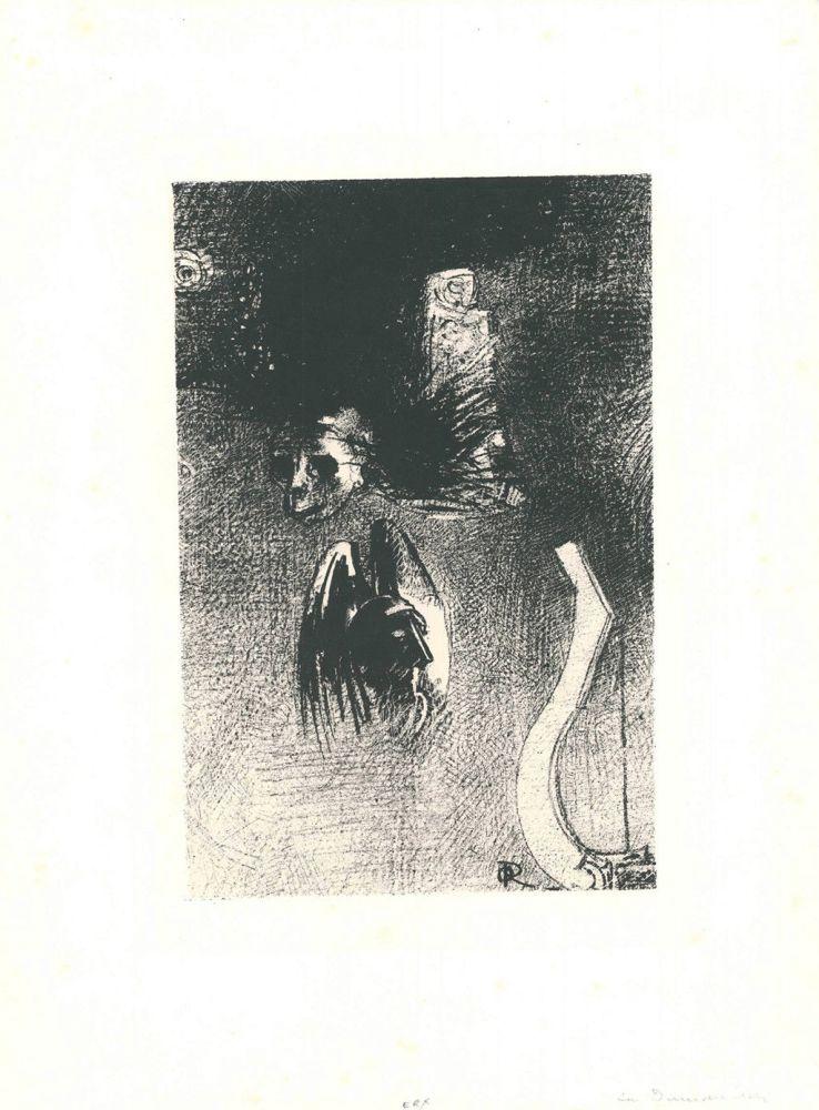 Lithographie Redon - La damnation de l'artiste