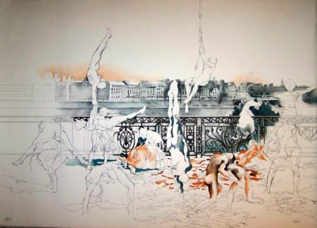 Lithographie Cueco - La danse
