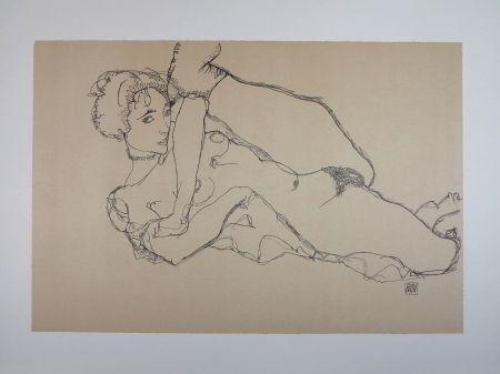 Lithographie Schiele - LA DANSEUSE NUE / THE NUDE DANCER - 1914