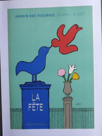 Affiche Savignac - La fête au jardin des Tuileries
