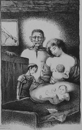 Lithographie Martini - La famiglia del pescatore