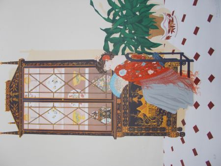 Lithographie Pescalera - La femme à l'éventail