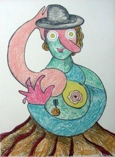 Lithographie Baj - La femme au chapeau