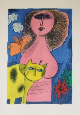Lithographie Corneille - La femme au chat jaune
