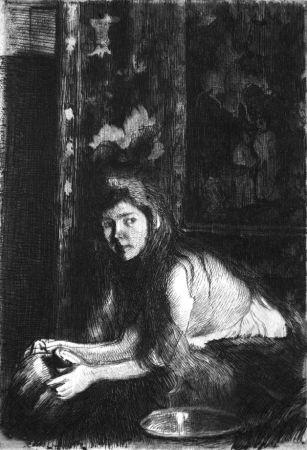 Eau-Forte Besnard - La femme au vase