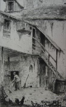Gravure Delatre - La ferme de la rue Constance