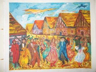 Lithographie Adler - La fete au village
