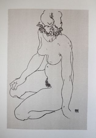 Lithographie Schiele - LA  FILLE A GENOUX / THE GIRL ON THE KNEES (Edith Harms) - Lithographie / Lithograph - 1913