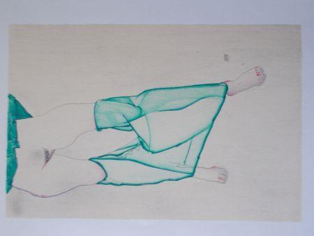 Lithographie Schiele - La fille au bas vert