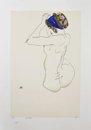 Lithographie Schiele - La fille au turban bleu, 1912 / The girl with blue headband, 1912