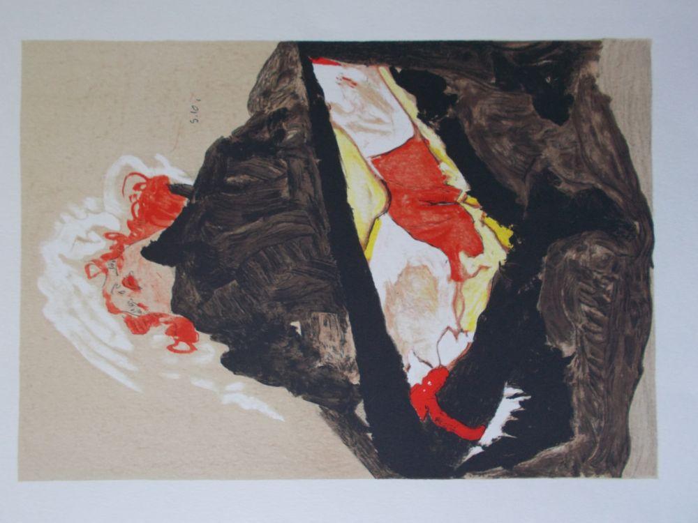 Lithographie Schiele - La fille aux cheveux rouge