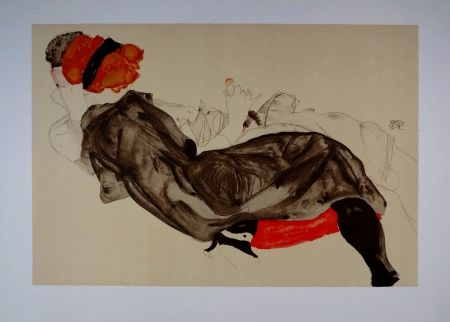 Lithographie Schiele - La fille aux Cheveux Rouges / Red-haired Girl - 1912