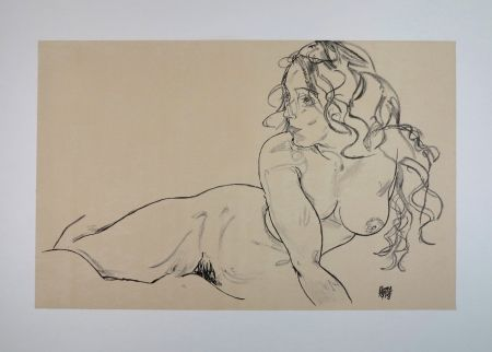 Lithographie Schiele - LA FILLE AUX LONG CHEVEUX / THE GIRL WITH LONG HAIR - 1918