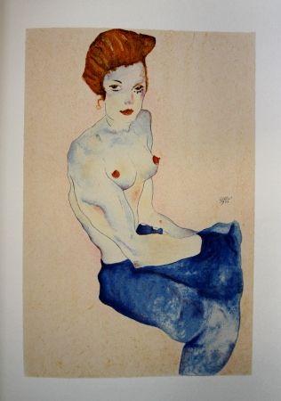 Lithographie Schiele - LA FILLE EN ROBE BLEUE / THE GIRL IN THE BLUE DRESS - Lithographie / Lithograph - 1911