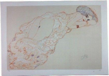 Lithographie Klimt - La fille en robe longue