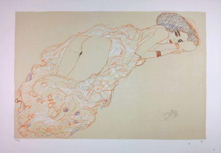 Lithographie Klimt - La fille en robe longue / Reclining Nude Lying on Her Stomach and Facing Right / Auf dem Bauch liegender Halbakt nach rechts - 1910