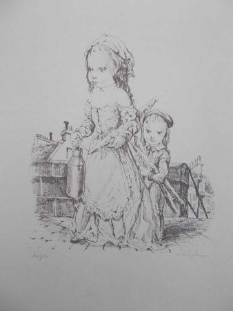 Lithographie Foujita - La fille et l'enfant à la baguette de pain et au pot de lait